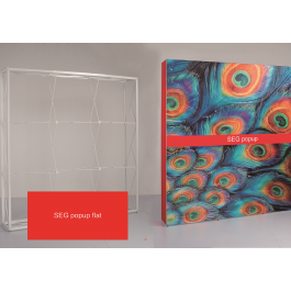 Pop up SEG. Πτυσσόμενο σύστημα (αράχνη) για ύφασμα, απλό και backlit. Μοντέρνα παρουσίαση με εύκολη εφαρμογή. Το ύφασμα τυπώνεται, ράβεται με προφίλ σιλικόνη και τοποθετείται πανεύκολα στο frame