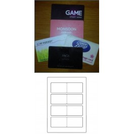 PET Προχαραγμένο Φίλμ 193mic. Αυτοκόλλητο λευκό ματ σε φύλλα, με προχαραγμένο σχέδιο για 4 κάρτες - 86cmx53.7mm. Κατάλληλο για laser εκτυπωτές. Ιδανικό για κάρτες μελών γυμναστηρίων και επαγγελματικές κάρτες.